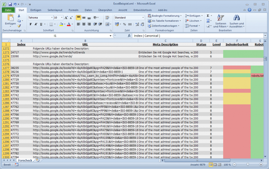 Forecheck Excel-Export