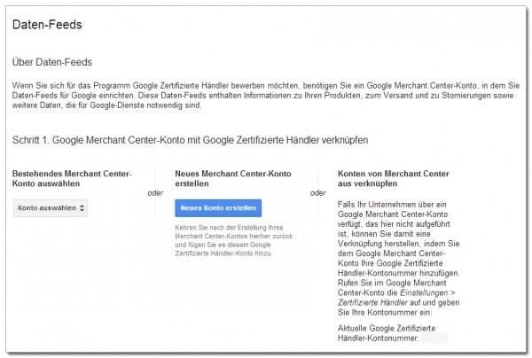 Google Datenfeeds Zertifizierte Händler
