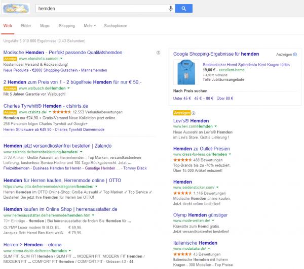 Google Suchergebnis Design