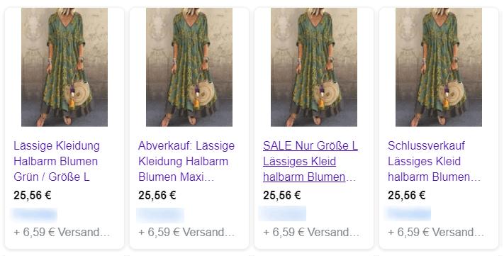 Google Shopping Anzeige Kleid 4 Titel