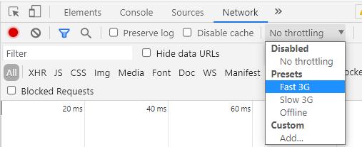 Chrome Dev Tools throttling