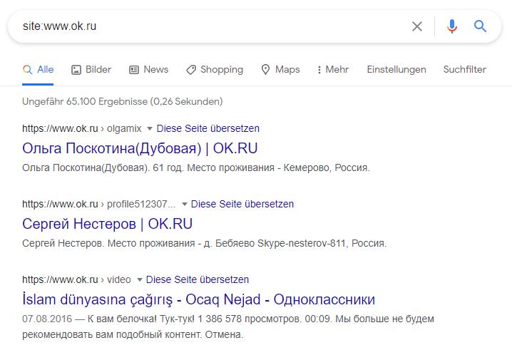 Suchergebnisse www.ok.ru