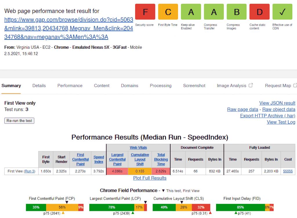Webpagetest Kategorieseite gap.com