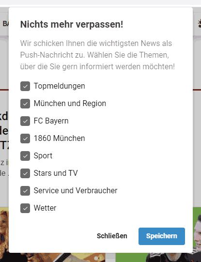 Browser Notifications der TZ