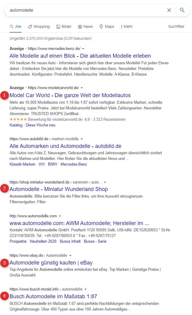 Google SEO Automodelle