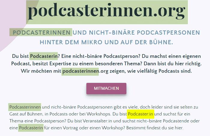 podcasterinnen gendern